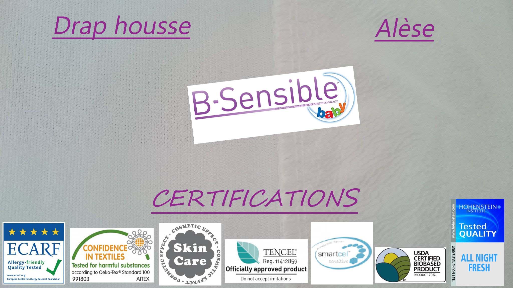 BSensible Drap-Housse 180 x 200 Lavande